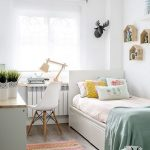Small Bedroom, Wooden Foor, White Wall, White Bed Platform, Wooden Cabinet, White Modern Chair, Patterned Rug