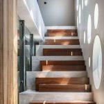 Staircase, Grey Stairs, Wooden Blocks Stair, Round Glass Windows