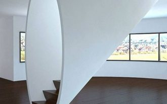 stairs, black wooden platform, round white framed
