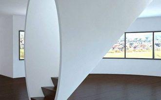 stairs, black wooden platform, round white framed