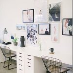 Study Room, Brown Marble Floor, White Wall, White Cabinet, White Table, Black Metal Chairs