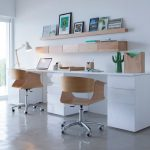 Study Room, Grey Floor, White Wall, White Table, Brown Wooden Chair, Wooden Floating Shelves