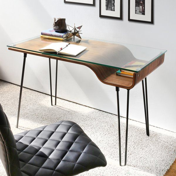 study room, white marble floor, white wall, wooden table, glass top, black leather chair