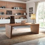 Study Room, Wooden Floor, Wooden Table, Wooden Accent Wall, White Wall, White Floating Cabinet, Black Leather Office Chair