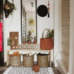 Tall, Rectangular Mirror, Wooden Bench, Rattan Basket