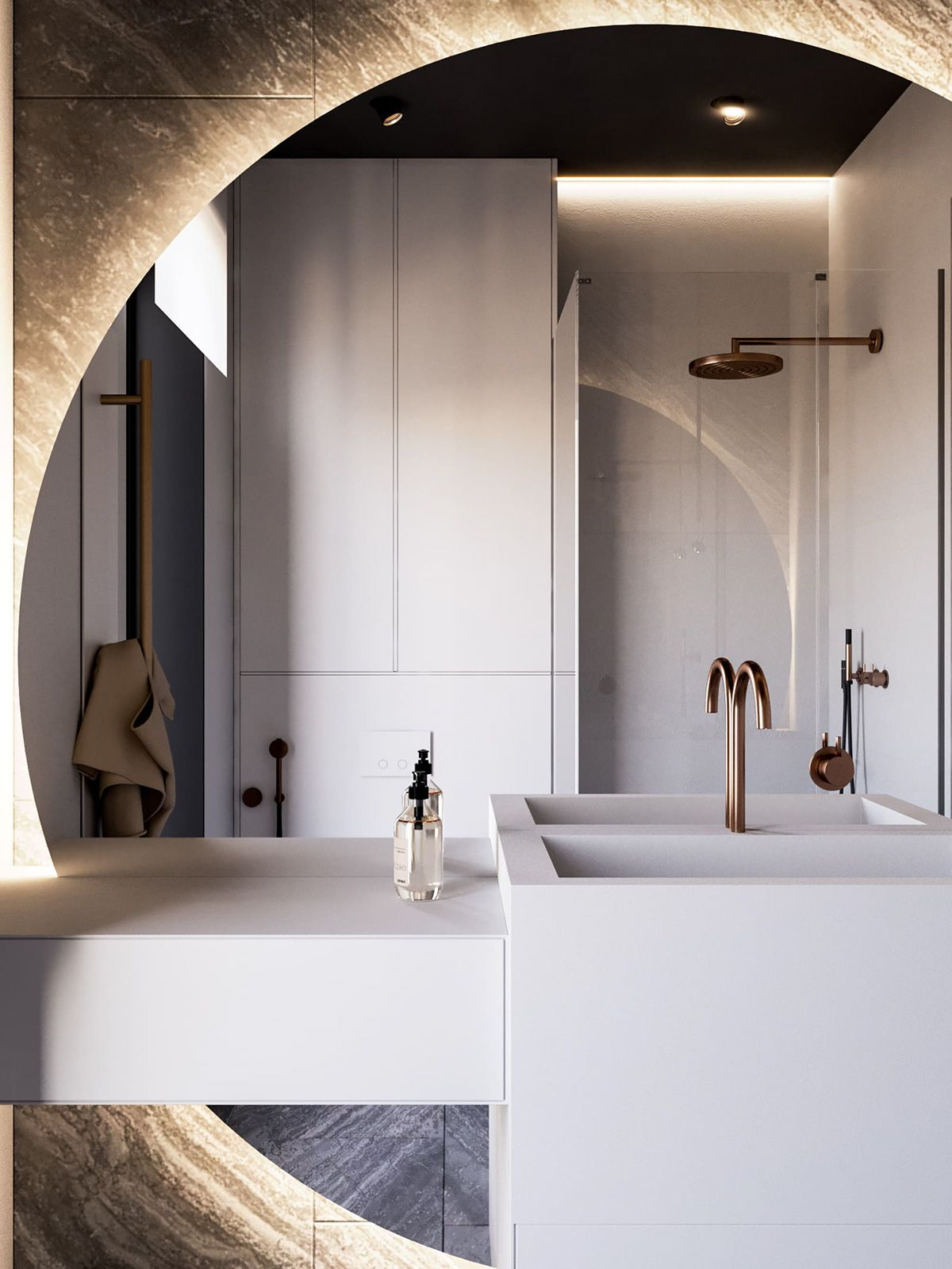 vanity, white built in vanity, big round mirror, golden faucet, brown marble wall