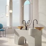 White Modern Vanity, Round Vanity, Golden Cone Sink, White Marble Side Table, Modern Pendant, Long Oval Mirror With Frame
