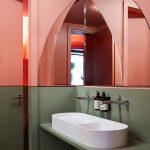 White Sink, Orange Wall, Green Wall, Half Round Mirror