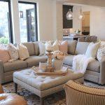 White Square Tufted Ottoman, White Wall, Grey Sofa, Brown Leather Ottman