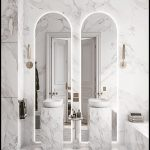 White Vertical Marble Vanity, White Marble Wall, White Marble Tub, Tall Mirror With Circular Top, White Bowl Sink, Golden Sconces