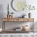 White Wall, White Wooden Floor, Wooden Console Table, Round Mirror, Patterned Rug