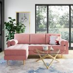 Wooden Floor, Blue Watercolored Pattern Rug, White Wall, Mirror, Pink Cornered Sofa, Glass Round Coffee Table