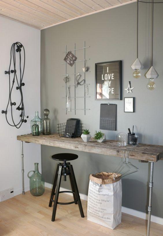 wooden table with piep legs, wooden floor, grey wall, pendants, black stool