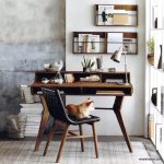 Wooden Table, With Shelves, Drawers, Black Leather Chair, Grey Wall, Grey Floor, Grey Rug