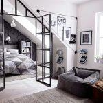 Apartment, Wooden Floor, Vaulted Ceiling, Glass Window, Black Bean Bag, Grey Bed