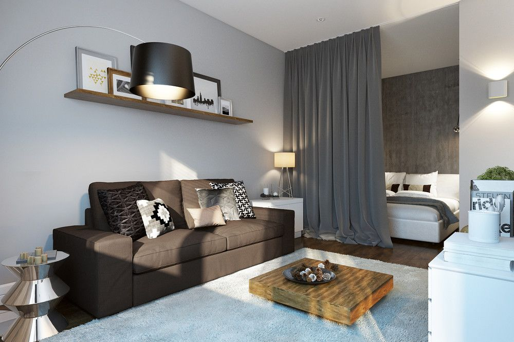apartment, wooden floor, white wall, rey curtain, bedroom, brown sofa, white rug, low coffee table, black floor lamp, floating shelves