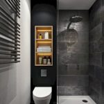 Bathroom, Black Marble Floor, Black Marble Wall, Grey Wall, White Toilet, Indented Shelevs