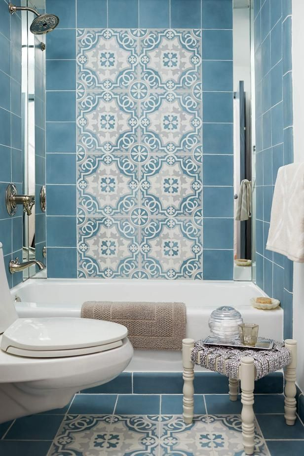 bathroom, blue floor and wall tiles, blue patterned wall and floor, white tub, white toilet