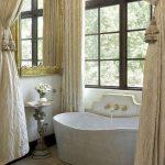 Bathroom, Brown Marble Floor, White Wall, Golden Mirror, White Tub, Golden Curtain