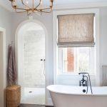 Bathroom, Dark Wooden Floor, White Wall, White Tub, Modern Chandelier, Curtain