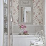 Bathroom, Flowery Wall, White Wall, White Wooden Tub, White Farmed Mirror, White Glass Cabinet, White Carved Chair
