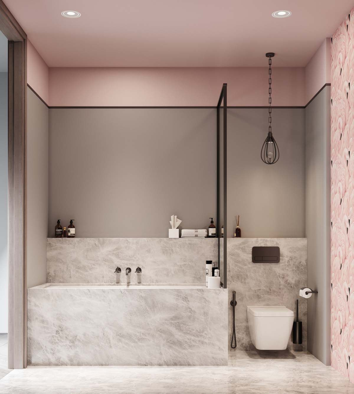 bathroom, grey wall, pink accent, gery marble tub, white toilet