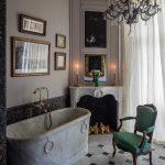 Bathroom, Marble Floor, Grey Wall, Dark Grey Marble, White Fireplace, Chandelier