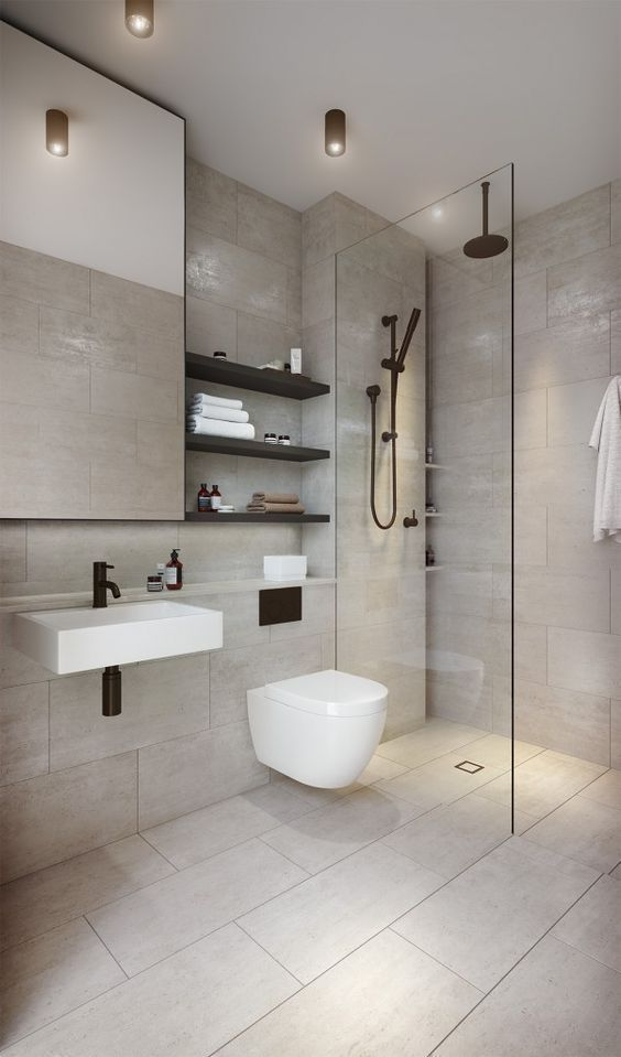 bathroom, marble floor, marble wall, white floating toilet, indented shelves, white floating sink