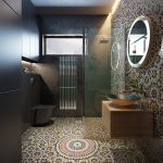 Bathroom, Patterned Floor, Black Wall, Black Toilet, Patterned Wall, Floating Wooden Cabinet, Round Mirror