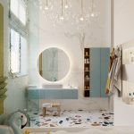 Bathroom, White Marbe Wall, Marble Floor, Round Mirror, Blue Floating Cabinet, Blue Floating Vanity, White Tub