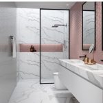 Bathroom, White Marble Wall, White Marble Floor, White Marble Vanity Top, Pink Accent Wall