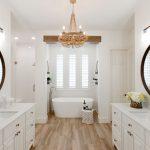 Bathroom, Wooden Floor, White Wall, Chandelier, White Cabinet, White Tub, Windows