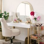 Beauty, Grey Rug, White Wall, White Table, Golden Frame Round Mirror, Table Lamp, White Leather Office Chair, Golden Shelves