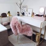 Beauty Room, Dark Floor, White Wall, White Table, Golden Chair With Pink Fur, Shelves