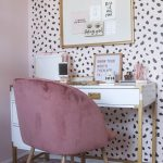 Beauty Room, Pink Patterned Rug, White With Black Dots Accent Wall, White Table With Golden Legs, Pink Velvet Modern Chair