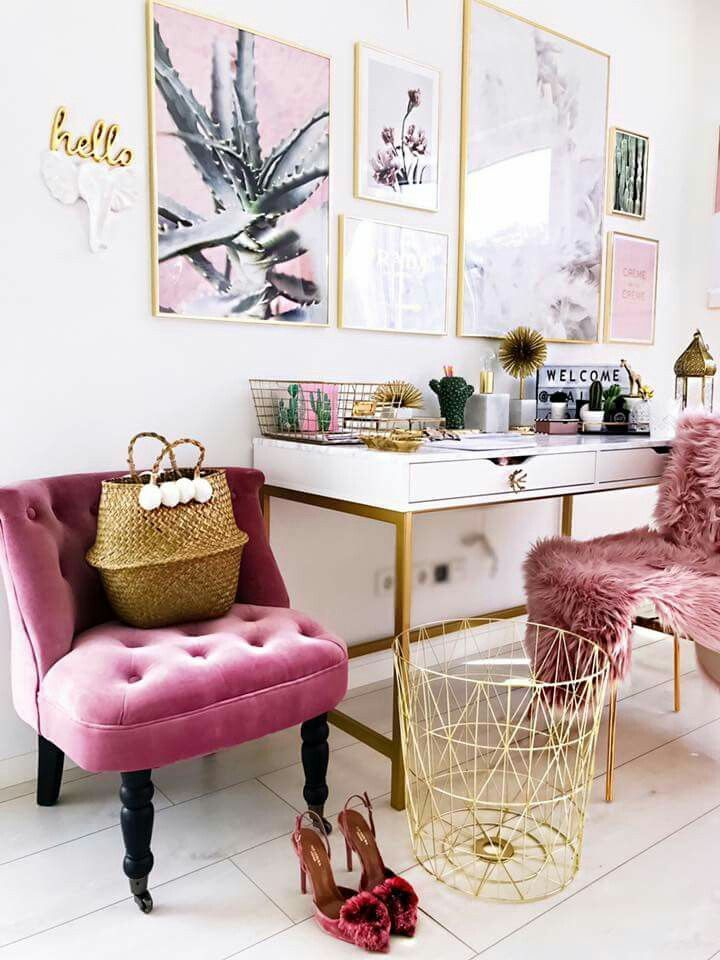 beauty room, white floor, white wall, white table, golden lines, pink tufted chair, golden chair with pink fur