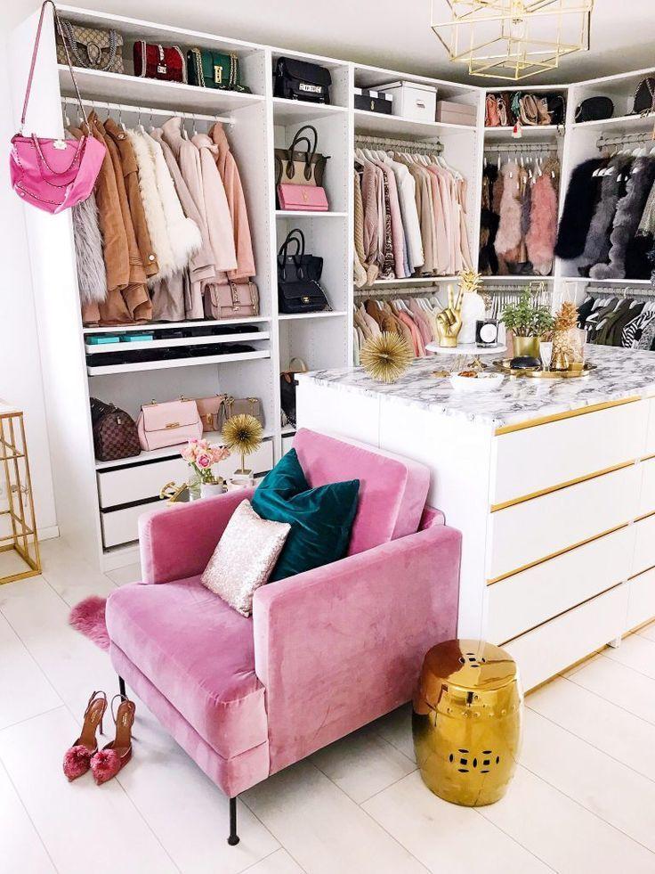 beauty room, white wooden floor, white cabinet, white marble counter top, white shelves, golden pendant, pink chair