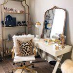 Beauty Room, Wooden Floor, White Table, Golden Mirror, White Office Chair, Golden Shelves,