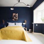 Bedroom, White Floor, Dark Blue Wall, Modern Pendant, Window, Yellow Bedding, Wooden Side Table
