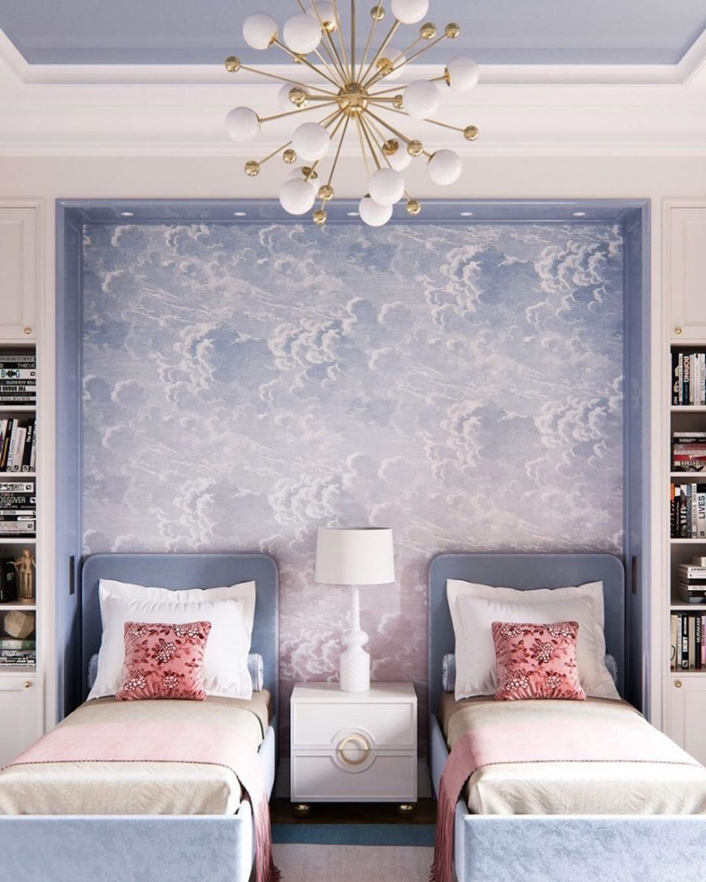 bedroom, white wall, white built in shelves, blue bed, blue accent wall, white ball chandelier