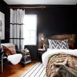 Bedroom, Wooden Floor, Black Wall, Black Chair, Wooden Headboard, Small Side Tabl
