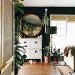 Bedroom, Wooden Floor, Black Wall, White Cabinet, Round Mirror, Black Floor Lamp, Rattan Cabinet, White Sofa