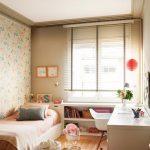 Bedroom, Wooden Floor, Cream Wall, Wallpaper, White Ceiling, White Built In Shelves And Bed Platform, White Study Table, White Modern Chair