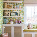 Bedroom, Wooden Floor, Lemon Wallpaper, Rattan Cabinet, White Shelves, Window Seat With Yellow Cushion