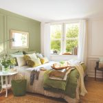 Bedroom, Wooden Floor, Rattan Rug, White And Green Wainscoting Wall, White Curtain, White Green Bedding, White Side Table, Green Lamp