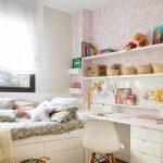 Bedroom, Wooden Floor, White Built In Table, White Bed Platform, Pink Wallpaper, White Shelves, Rattan Rug, White Modern Chair