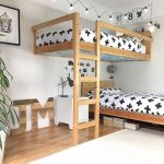Bedroom, Wooden Floor, White Floor, White Wall, Wooden Floating Bed, Wooden Bed Platform, Study Table