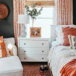 Bedroom, Wooden Floor, White Lounge Chair, White Side Cabinet, White Table Lamp, White Headboard, Orange Corner