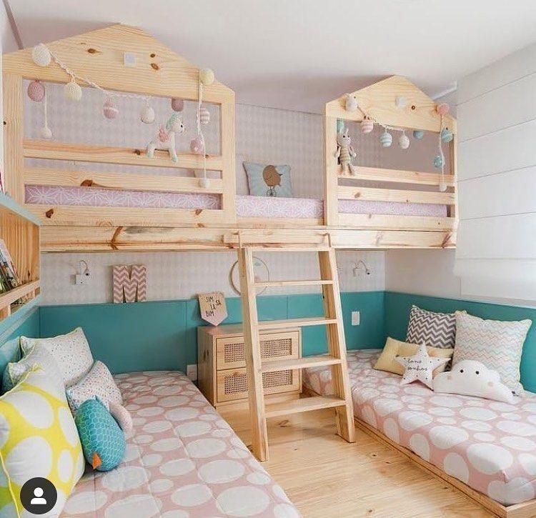 bedroom, wooden floor, white shiplanks, wooden bed platform, beds on the floor