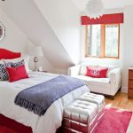 Bedroom, Wooden Floor, White Vaulted Wall, White Tufted Bench, White Bed, White Pendant, White Table Lamp